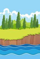 Een vlak rivierlandschap van de natuur