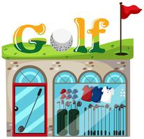 A golf shop on white background vector