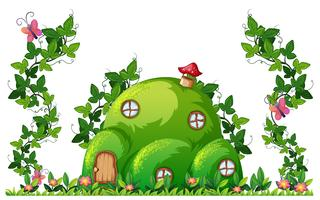 A green hill house vector