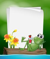 Paper template with frog drinking juice