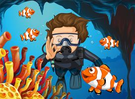 Scuba diver diving underwater with clownfish