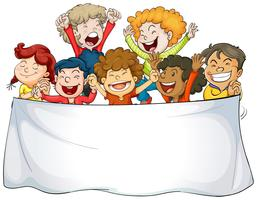 Banner template with happy kids