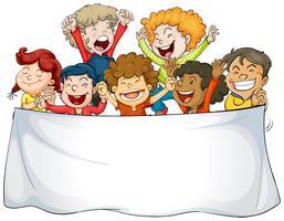 Modello di banner con bambini felici