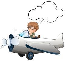 Garçon volant d'avion à réaction dans le ciel