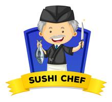 Wordcard d'occupation avec le chef sushi