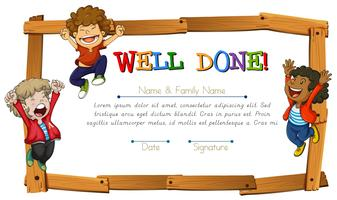 Certificate template with kids and wooden frame vector