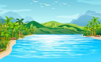 Escena de rio con arboles y montañas