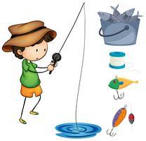 Boy fishing and fishing items