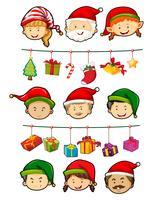 Weihnachtsthema mit Leuten und Verzierungen