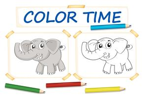 Color paper template with elephant