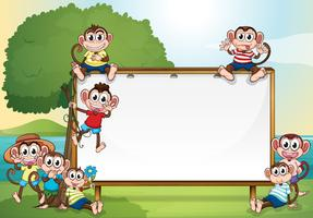 Frame design with monkeys in the park