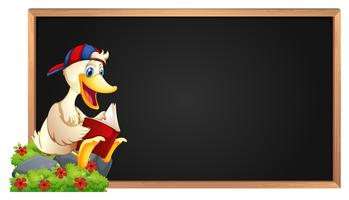 Frame template with duck reading book vector