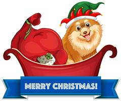 Weihnachtsthema mit Hunden und Geschenken auf Schlitten