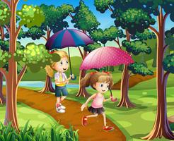 Duas meninas, andar, em, a, floresta