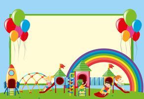 Grenzschablone mit Kindern am Spielplatz