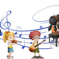Many kids playing music together