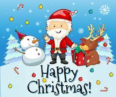 Tema di Natale con Babbo Natale e pupazzo di neve