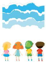 Diseño de papel con niños de pie.