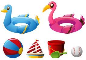 Giocattoli da spiaggia con anelli galleggianti e palla