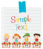 Modèle de papier avec des enfants ayant des céréales