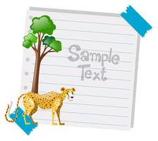 Paper template with cheetah in background