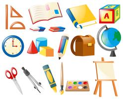 Conjunto de objetos escolares