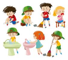 Garçons et filles faisant différentes activités