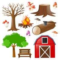 Satz von Scheune und Wald
