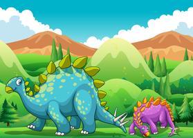 Dinosaures mignons marchant dans le champ