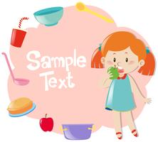 Paper template with girl eating green apple vector