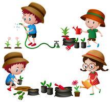 Cuatro niños regando y plantando árboles.