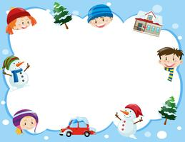Border template with kids in winter time