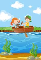 Dois, crianças, remar barco, em, rio