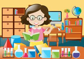 Teacher with book and science equipments