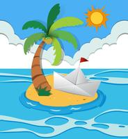 Paper boat on island