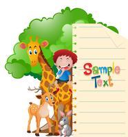 Plantilla de papel con animales salvajes y niño