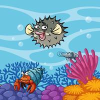 Escena submarina con animales marinos.