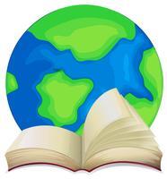 Libro y el mundo sobre fondo blanco.