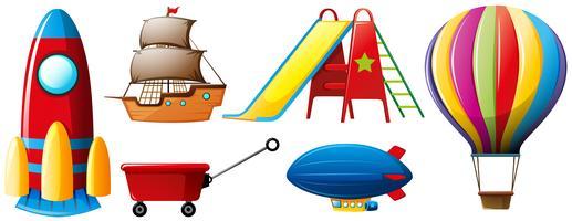 Diferentes tipos de transportes e brinquedos