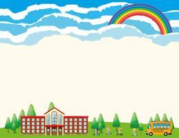 Plantilla de papel con la escuela durante el día