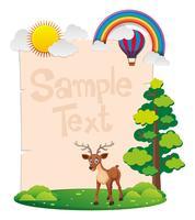 Modello di carta con cervi nel parco