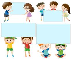 Border template with boys and girls vector