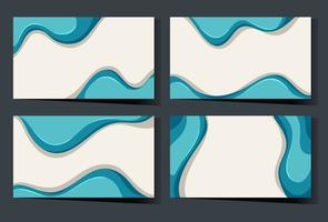 Business card template with blue waves vector