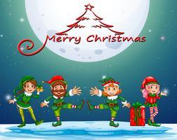 Weihnachtsnacht mit Elf und Geschenk