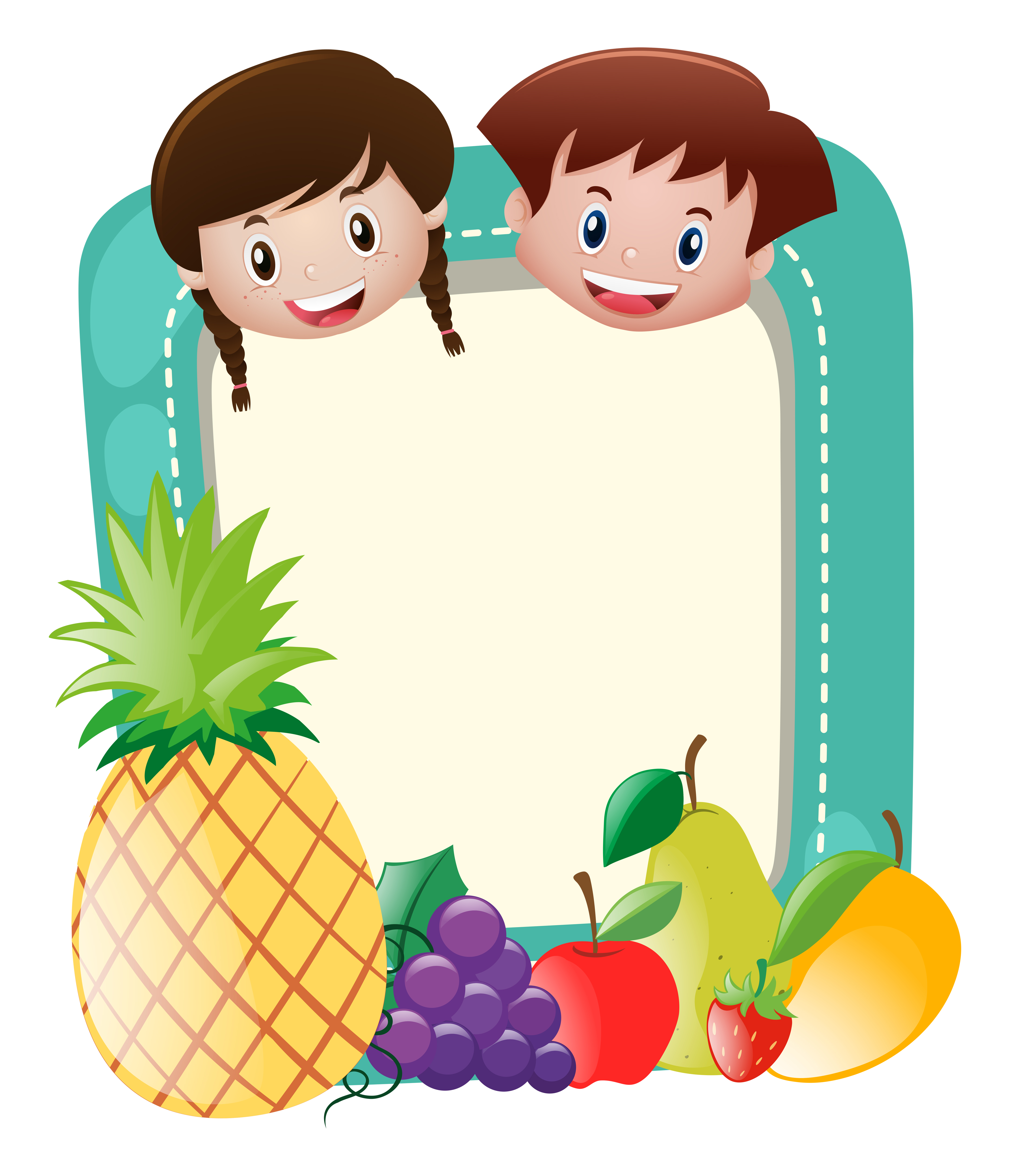 Border Template With Kids And Fruits Download Free Vectors Clipart Graphics Vector Art