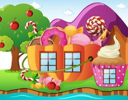 Fantacy-wereld met snoephuis en rivier