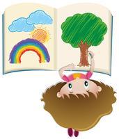 Niña, dibujo, en, libro, con, colorpencil