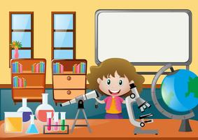 Girl and different science epuipments in classroom