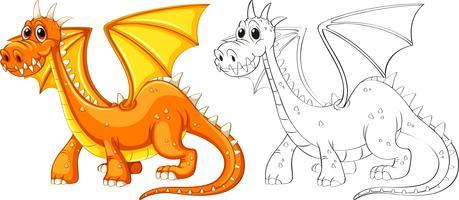 Contour des animaux pour dragon avec des ailes