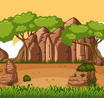 Scène de fond avec arbres et montagne